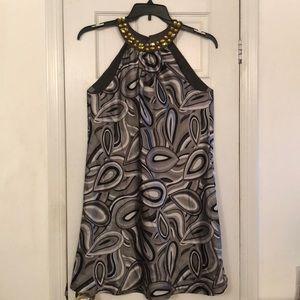 "INC Petite ""Happy Tears"" Grey 100% Silk Dress"